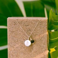 Hampers and Gifts to the UK - Send the Silver Personalised Initial Letter Lava Stone Necklace