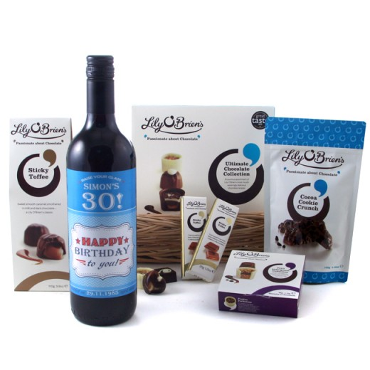 Hampers and Gifts to the UK - Send the Personalised Birthday Wine and Chocolate Hamper