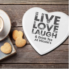 Hampers and Gifts to the UK - Send the Personalised Live Love Laugh Heart Coaster