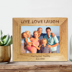 Hampers and Gifts to the UK - Send the Personalised Live Laugh Love Wooden Frame