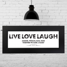 Hampers and Gifts to the UK - Send the Personalised Live Love Laugh Name Frame