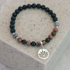 Hampers and Gifts to the UK - Send the Lotus Flower Charm Bracelet with Lava Beads