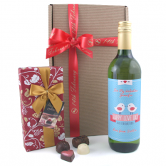 Hampers and Gifts to the UK - Send the Valentine's Love Birds Wine Gift Personalised