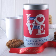 Hampers and Gifts to the UK - Send the Personalised Love Cookies Tin