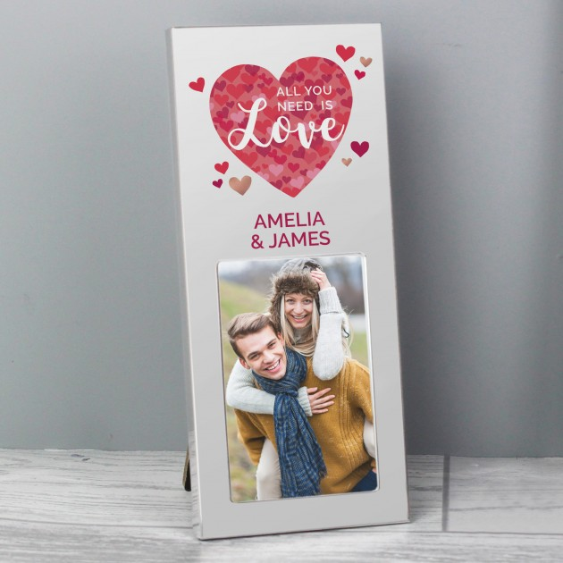 Hampers and Gifts to the UK - Send the Personalised All You Need is Love Photo Frame