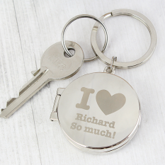 Hampers and Gifts to the UK - Send the Personalised I Heart Photo Keyring