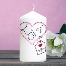 Hampers and Gifts to the UK - Send the Heart Stitch Love Personalised Candle