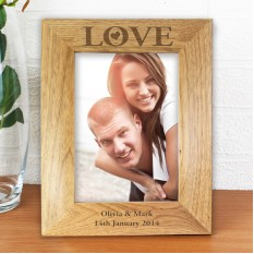 Hampers and Gifts to the UK - Send the Personalised Love Wooden Photo Frame