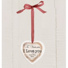 Hampers and Gifts to the UK - Send the Personalised Rustic Wooden Heart I Love You