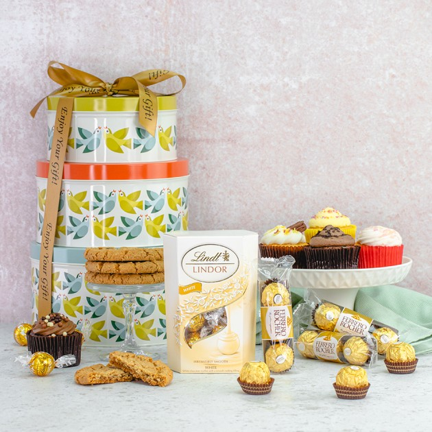 Hampers and Gifts to the UK - Send the Cupcakes and Truffles Tin Tower