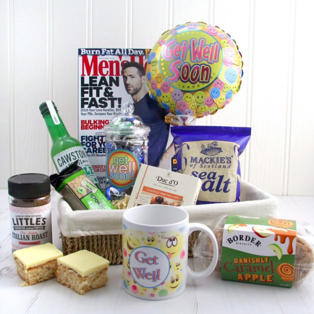 Hampers and Gifts to the UK - Send the Health and Happiness Get Well Basket for Him
