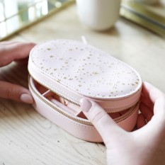 Hampers and Gifts to the UK - Send the Metallic Stars Jewellery Box in Pale Pink