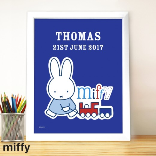 Hampers and Gifts to the UK - Send the Personalised Miffy Framed Print Baby Boy
