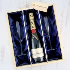 Hampers and Gifts to the UK - Send the Celebration Moet Chandon Champagne & Flutes Luxury Gift Box