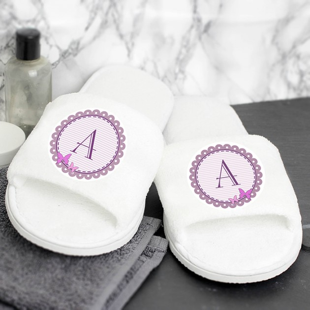 Hampers and Gifts to the UK - Send the Personalised Butterfly Initial Velour Slippers