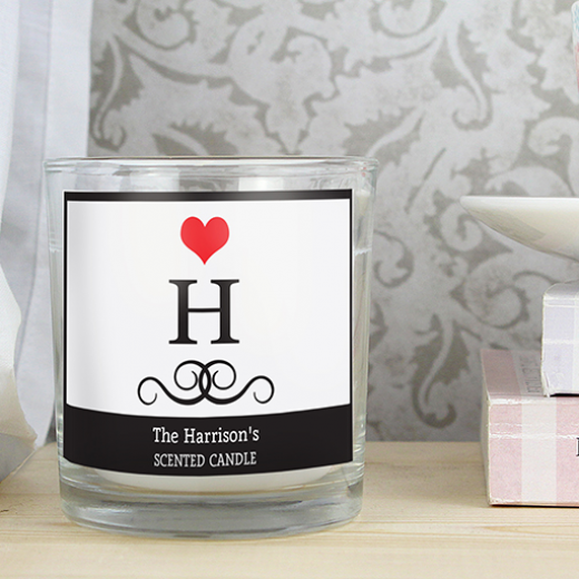 Hampers and Gifts to the UK - Send the Personalised Monogram Scented Jar Candle