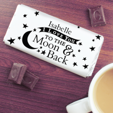 Hampers and Gifts to the UK - Send the To the Moon and Back Personalised Chocolate Bar
