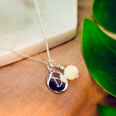 Hampers and Gifts to the UK - Send the Silver Personalised Initial Letter Mother of Pearl Necklace