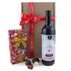 Hampers and Gifts to the UK - Send the I Moustache You To Be My Valentine Wine Gift