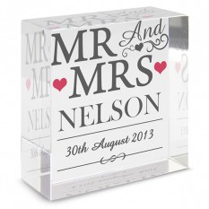 Hampers and Gifts to the UK - Send the  Mr and Mrs Medium Crystal Token