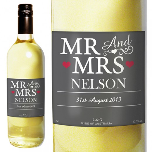Hampers and Gifts to the UK - Send the Mr and Mrs White Wine