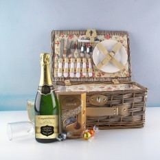 Hampers and Gifts to the UK - Send the Personalised Champagne and Chocolates Picnic Hamper for Two