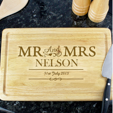 Hampers and Gifts to the UK - Send the Mr and Mrs Rectangle Chopping Board