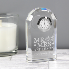 Hampers and Gifts to the UK - Send the Mr and Mrs Engraved Crystal Clock