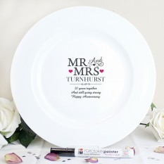 Hampers and Gifts to the UK - Send the Mr and Mrs Ceramic Message Plate