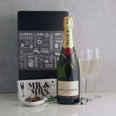Hampers and Gifts to the UK - Send the Celebration Moet and Chandon with Mr & Mrs Chocolate and Flutes