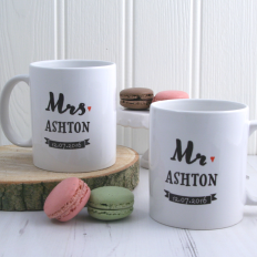 Personalised Mr and Mrs Coffee Mugs