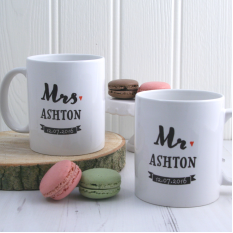 Hampers and Gifts to the UK - Send the Personalised Mr and Mrs Coffee Mugs