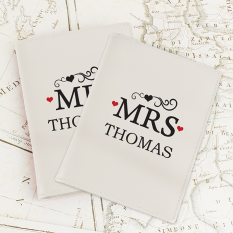 Hampers and Gifts to the UK - Send the Personalised Mr and Mrs Passport Holder
