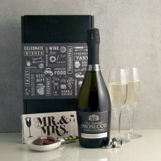 Hampers and Gifts to the UK - Send the Celebration Prosecco with Mr & Mrs Chocolate and Flutes
