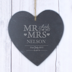 Hampers and Gifts to the UK - Send the Personalised Mr & Mrs Slate Heart