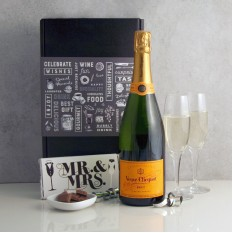 Hampers and Gifts to the UK - Send the Celebration Veuve Clicquot with Mr & Mrs Chocolate and Flutes