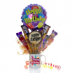 Hampers and Gifts to the UK - Send the A Happy Birthday Surprise Chocolate Mug Bouquet