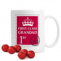 Hampers and Gifts to the UK - Send the Personalised 1st Class Grandad  Mug with Chocolates