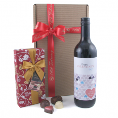 Hampers and Gifts to the UK - Send the Personalised Happy Valentine's Day Wine with Multi Hearts