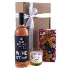 Hampers and Gifts to the UK - Send the It's Wine O'Clock for Mum Wine and Candle Gift