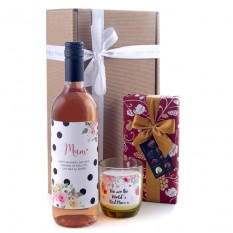 Hampers and Gifts to the UK - Send the Mum's Wine and Chocolates Gift Vintage Floral