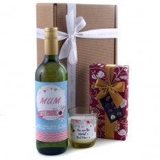 Hampers and Gifts to the UK - Send the Simply the Best Mum Wine and Candle Gift