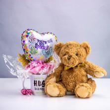 Personalised Big Hug Chocolate Bouquet and Teddy Bear