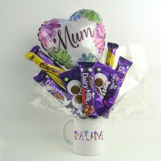 Hampers and Gifts to the UK - Send the Mum's Floral Dairy Milk Mug Bouquet