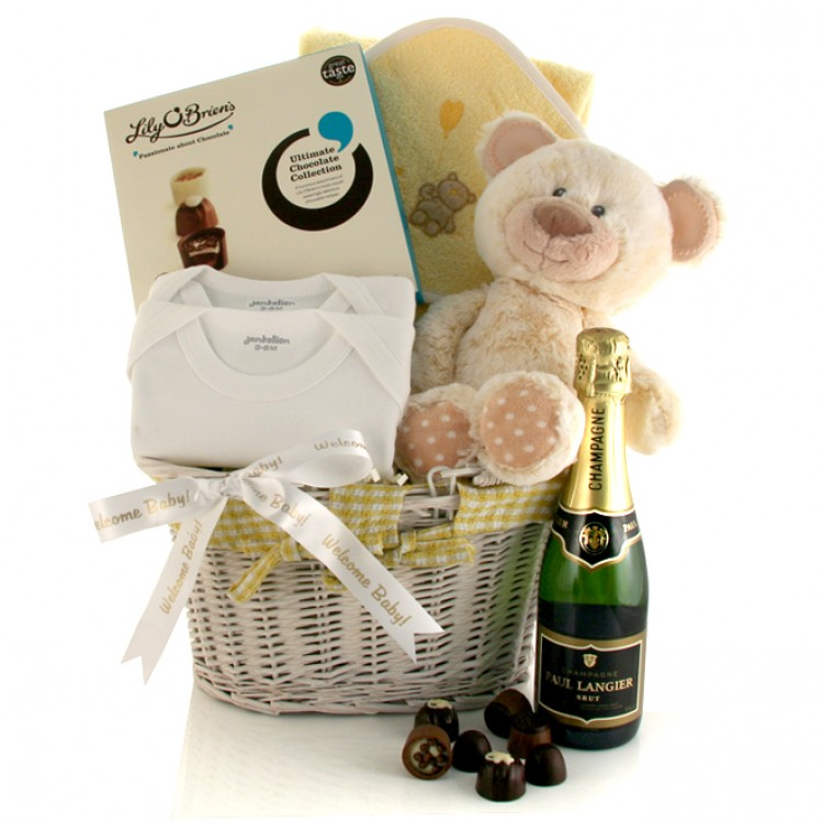 Baby Gift Delivery Uk : New baby celebration gift basket neutral for shower