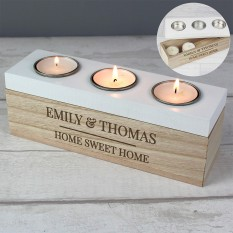 Hampers and Gifts to the UK - Send the Personalised Classic Triple Tea Light Box