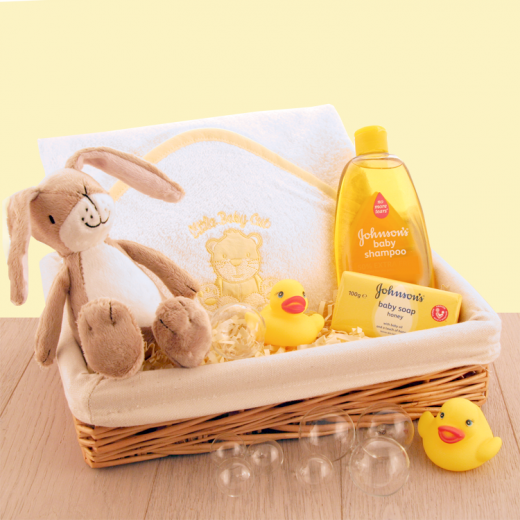 Hampers and Gifts to the UK - Send the Baby Bath Time Gift Basket - Yellow
