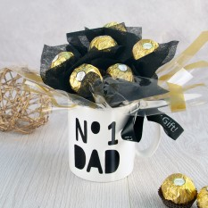 Hampers and Gifts to the UK - Send the No.1 Dad Ferrero Rocher Mug Bouquet