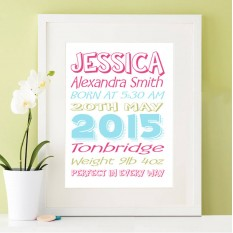 Hampers and Gifts to the UK - Send the Baby Girl's Birth Stats Wall Art