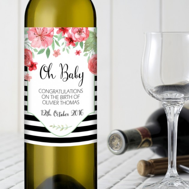 Hampers and Gifts to the UK - Send the Oh Baby Personalised Bottle of Wine